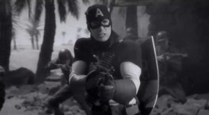 """Marvel got the last laugh by having Chris Evans wear a eerily similar costume for his """"war propaganda"""" skits in the first Captain America film."""
